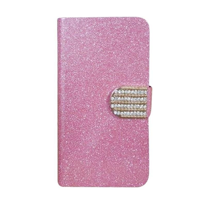 OEM Diamond Flip Cover Casing for Vivo X5 or X5L - Merah Muda
