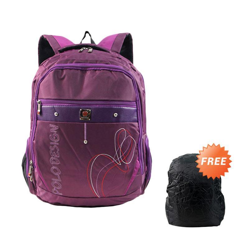 Polo Design PX1-21003L Tas Ransel + Rain Cover - Purple