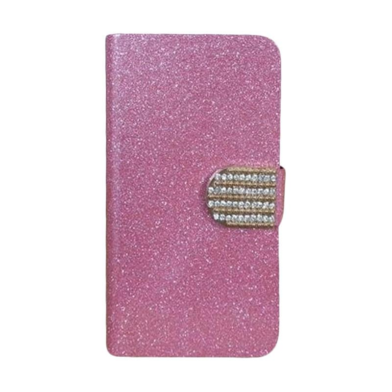 OEM Diamond Flip Cover Casing for Sony Xperia E4 - Merah Muda