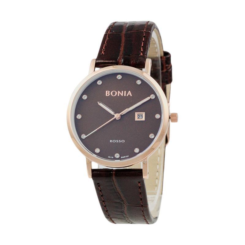 Bonia BN101-2547 Jam Tangan Wanita Brown Genuine Leather