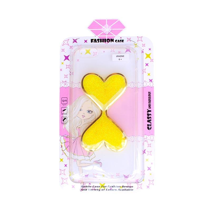 Fashion Case Gliter Love Casing for iPhone 6 Plus - Yellow