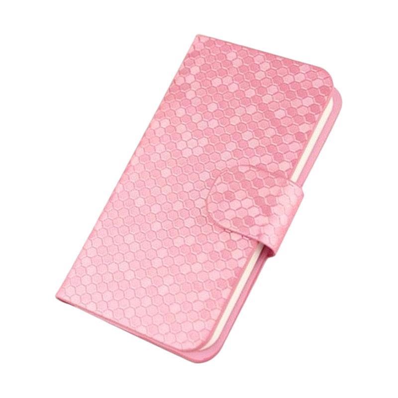 OEM Glitz Flip Cover Casing for Lenovo Vibe P1m - Merah Muda