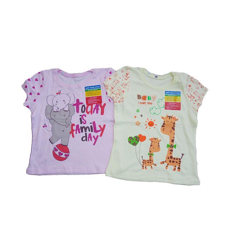 Girl Shirt Piteku Family Day dan Giraffe - Pink Kuning
