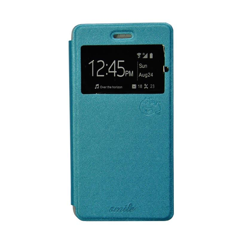 Smile Flip Cover Casing for Oppo R7 or R7 Lite - Biru Muda