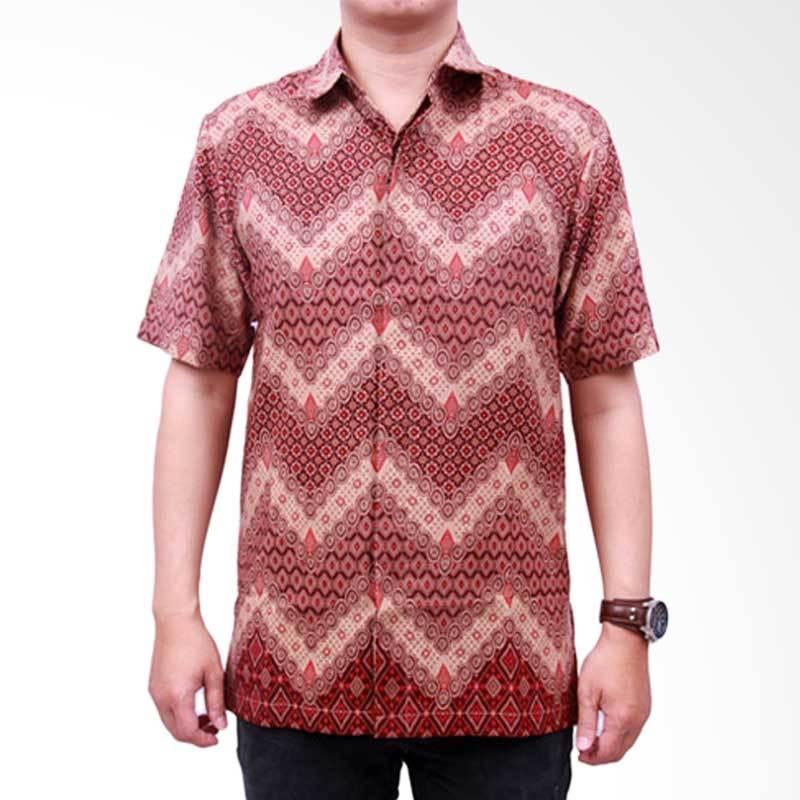 Batik Heritage Royal Peach Zigzag Slim Fit Kemeja Batik Pria - Red