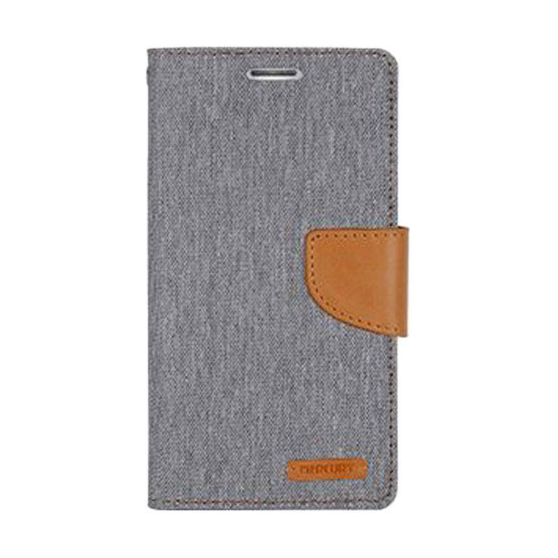 Mercury Canvas Diary Flip Cover Casing for iPhone 7 - Abu-abu