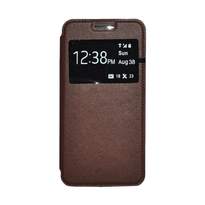 OEM Book Cover Leather Casing for Samsung Galaxy E5 - Brown
