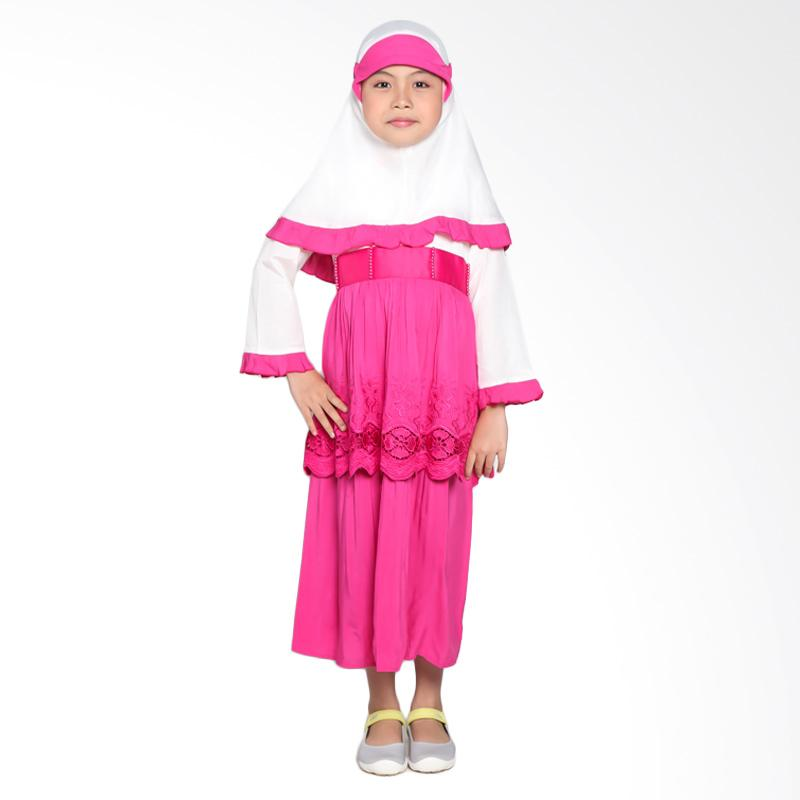 Pretty Girl 2Melodi Dress Muslim Anak - Fushia