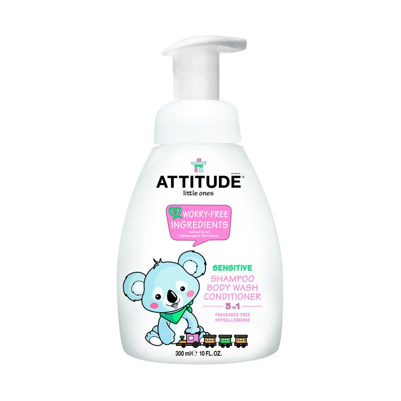 Attitude 3 In 1 Foaming Wash Sensitive Fragrance Free Shampoo, Body Wash, dan Conditioner [300 mL]