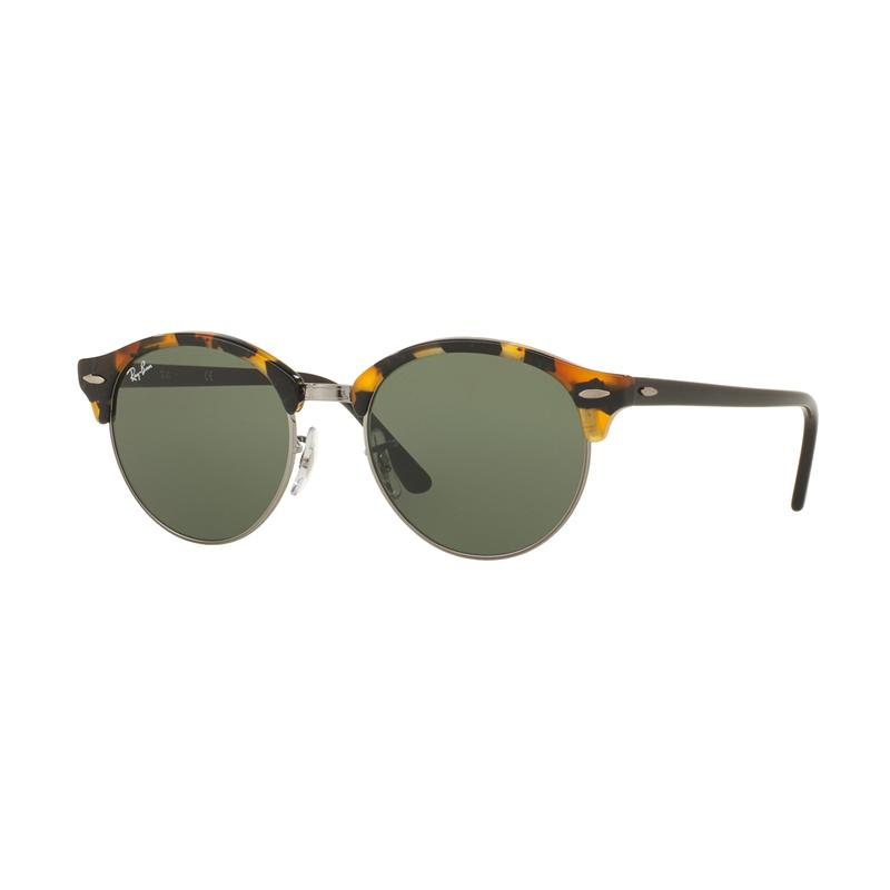 Ray-Ban Clubround Rb4246 Sunglasses - Spotted Black Havana [1157/Size 51/Green]