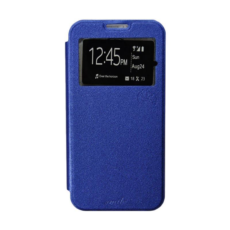 Smile Flip Cover Casing for Xiaomi Redmi Note - Biru Tua