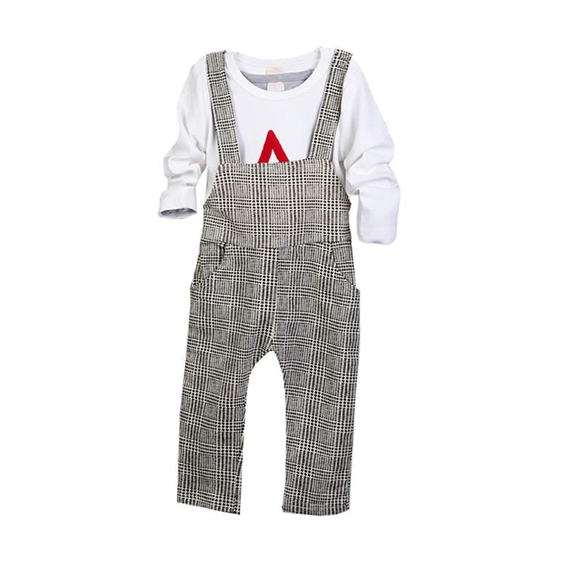 Chloebaby Shop Wearpack Star F974 Setelan Pakaian Anak - Putih