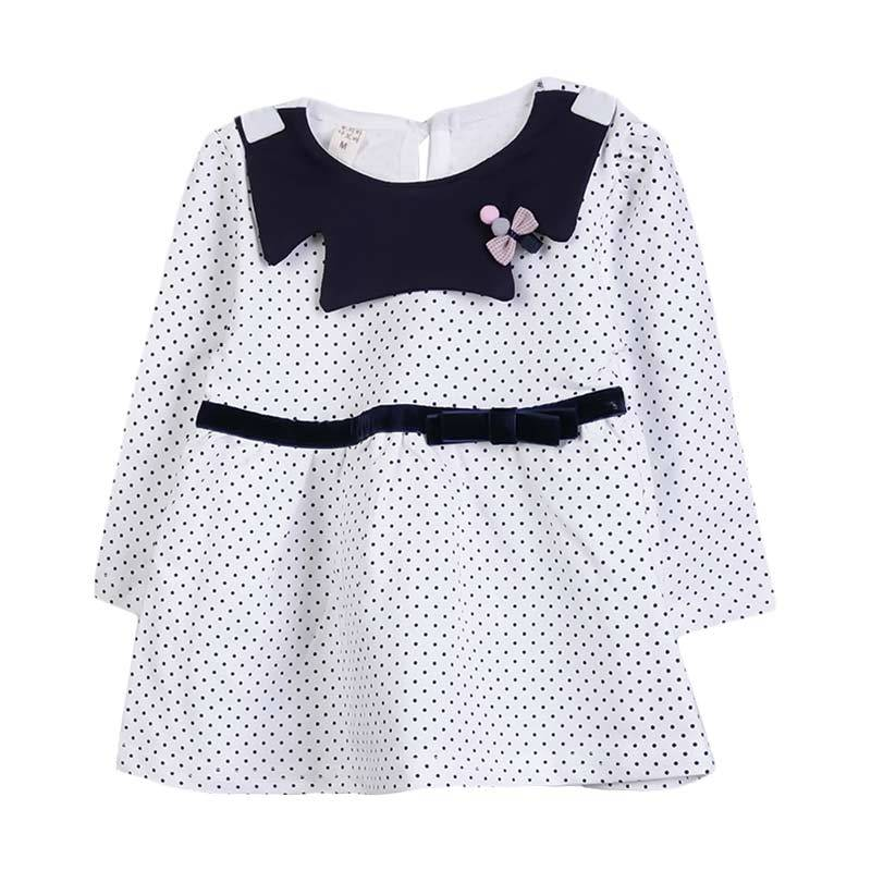 Chloebaby Shop F976 Polkadot Ribbon Dress - White