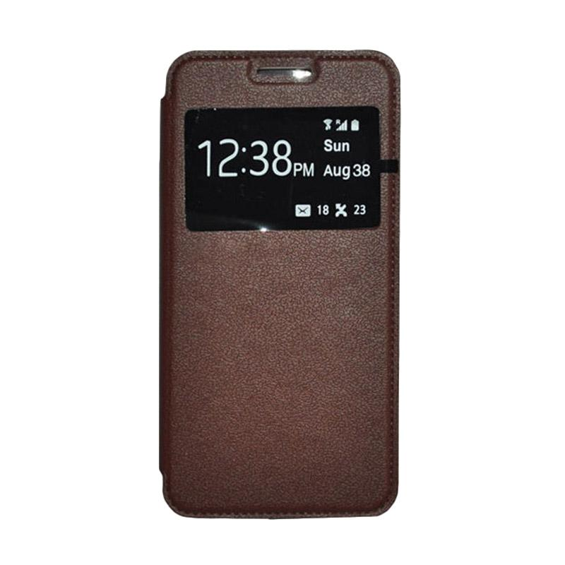 OEM Book Cover Leather Casing for Samsung Galaxy E7 - Brown