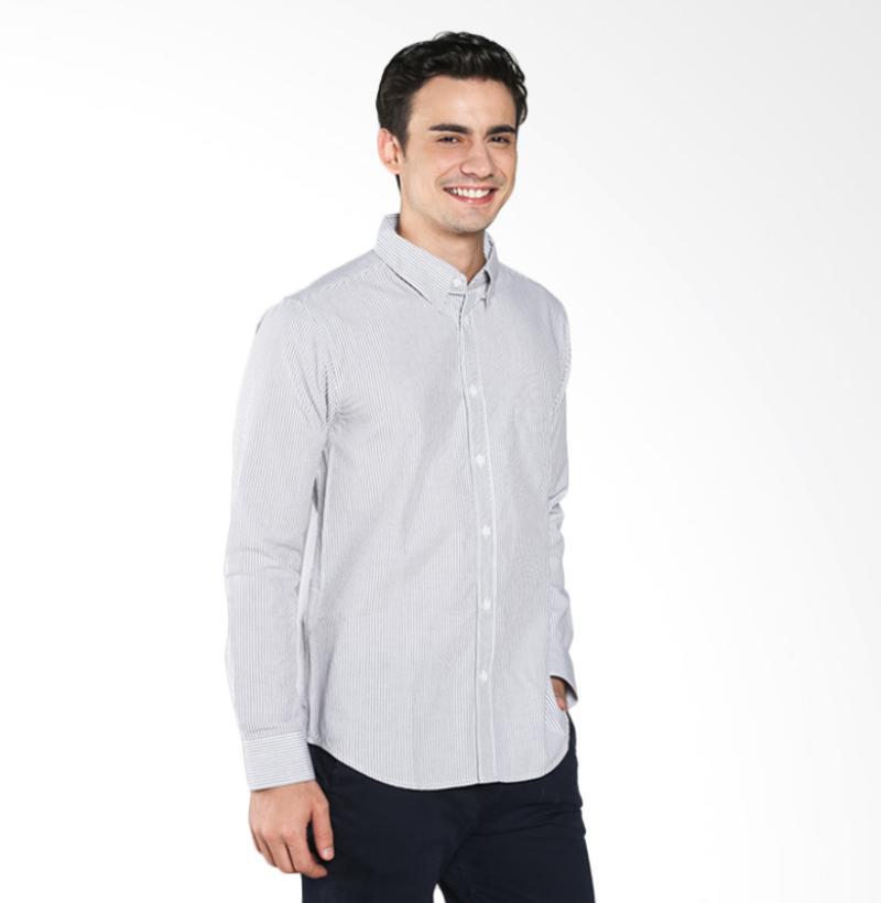 A&D Fashion Long Sleeve MS 1716-584A Kemeja Pria - Grey Stripe