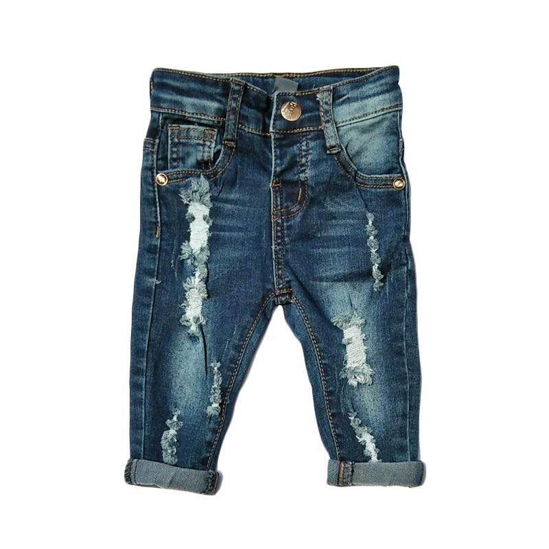 Chloebaby Shop F1051C Square Celana Ripped Jeans Anak