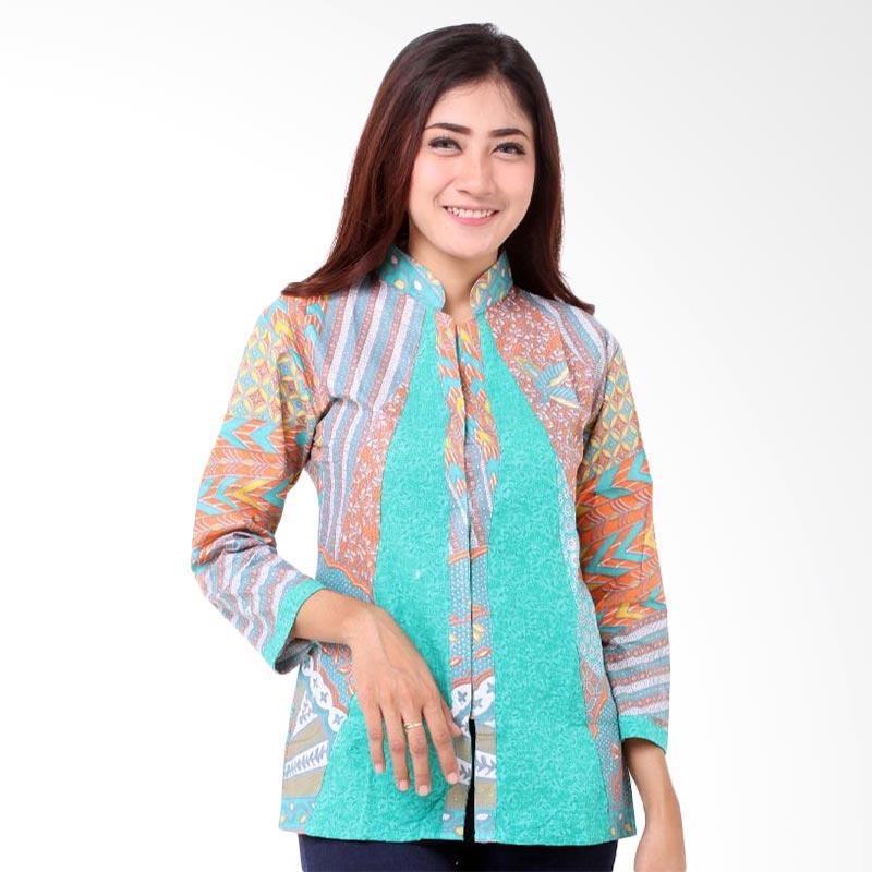 harga Batik Distro BA7912 Embos Shanghai Blus Wanita - Biru Blibli.com