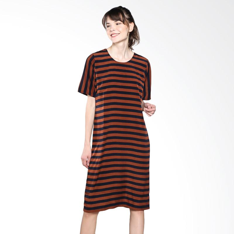 PS Career PC605EH50440 Horizontal Stripes Dress - Brown