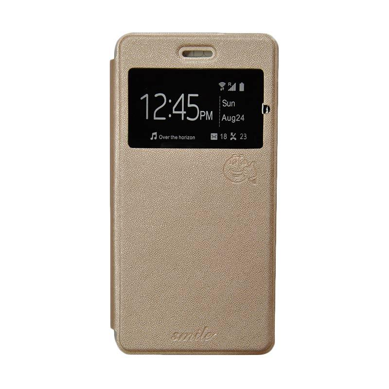 Smile Flip Cover Casing for Samsung Galaxy Alpha G580 - Gold