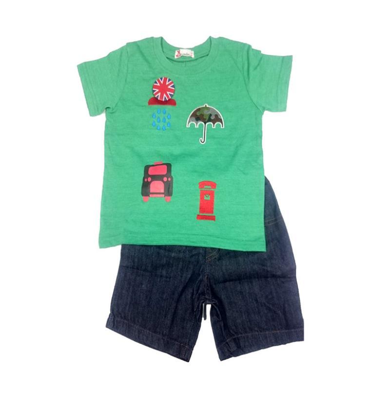 Tiny Button Toddler Boy Jeans Setelan Baju Anak - Green