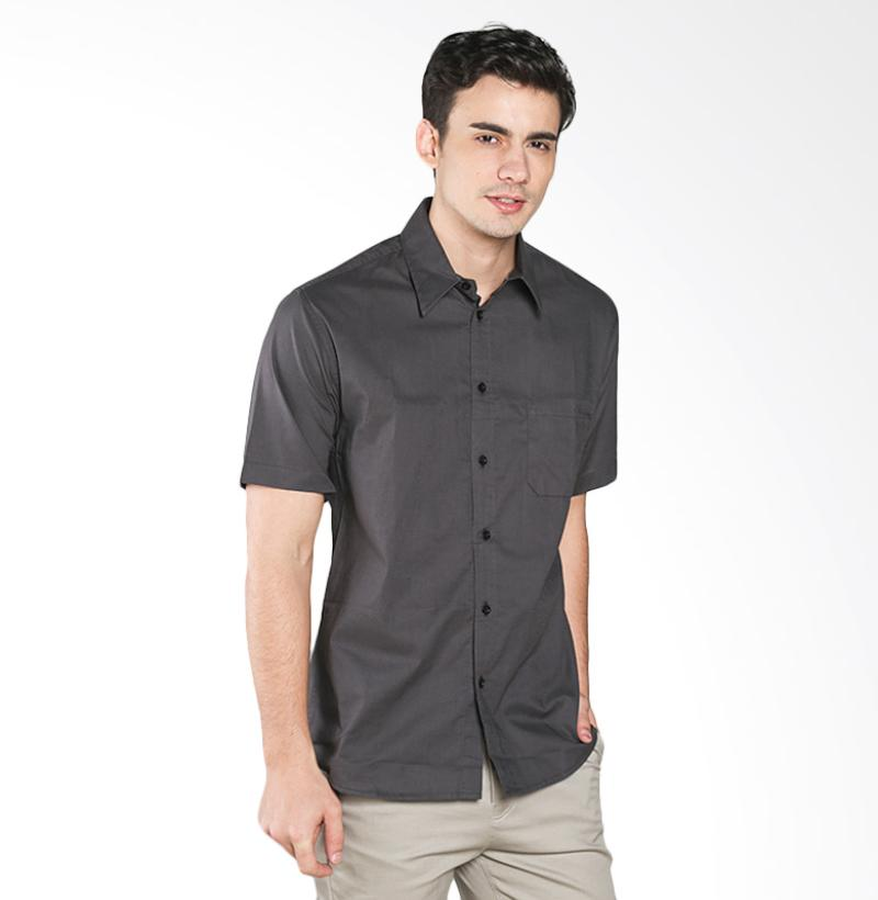 A&D MS 1516-479F Fashion Short Sleeve Mens Shirt - Dark Grey