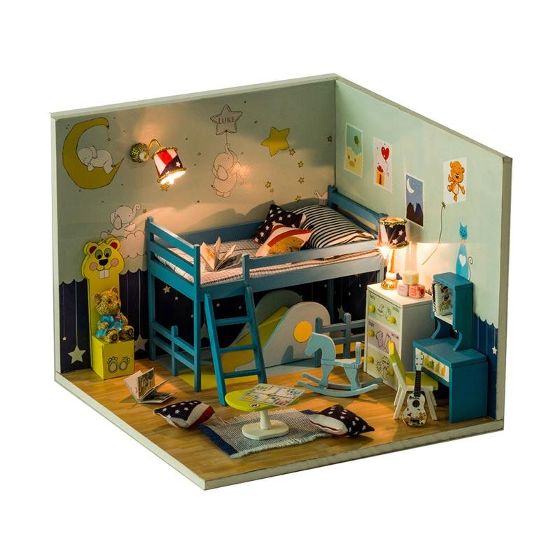 harga A1Toys DIY House Miniature Kamar Anak Kerajinan Tangan with Lampu LED & Akrilik C Blibli.com