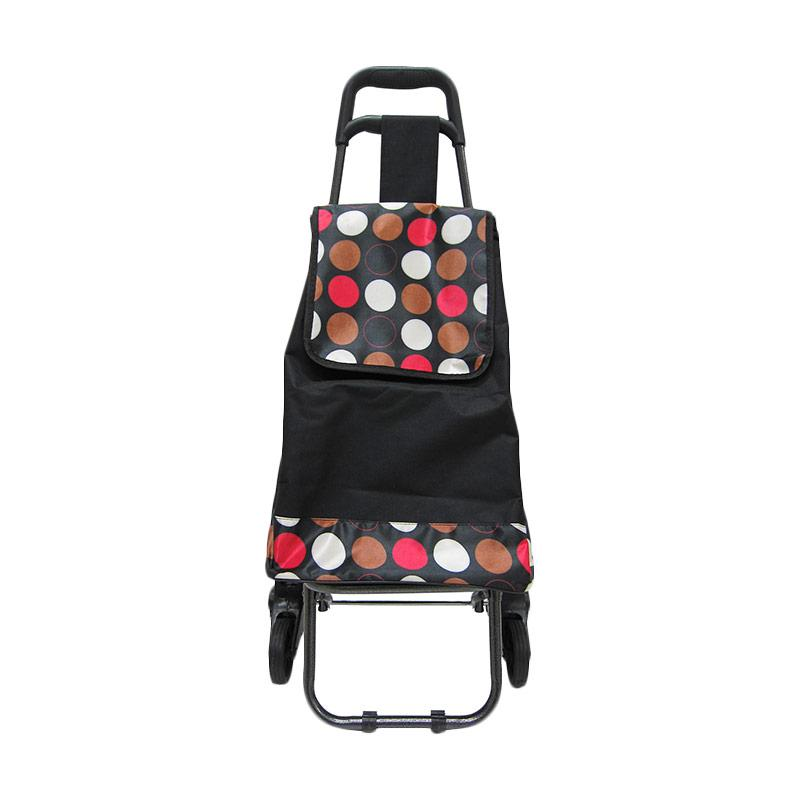 Machindo Troli Belanja Barang 3 Roda with Seat Motif Polkadot - Tas Trolley Bag lipat