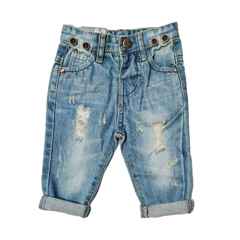 Chloebaby Shop f1051A botton  Celana Ripped Jeans Anak