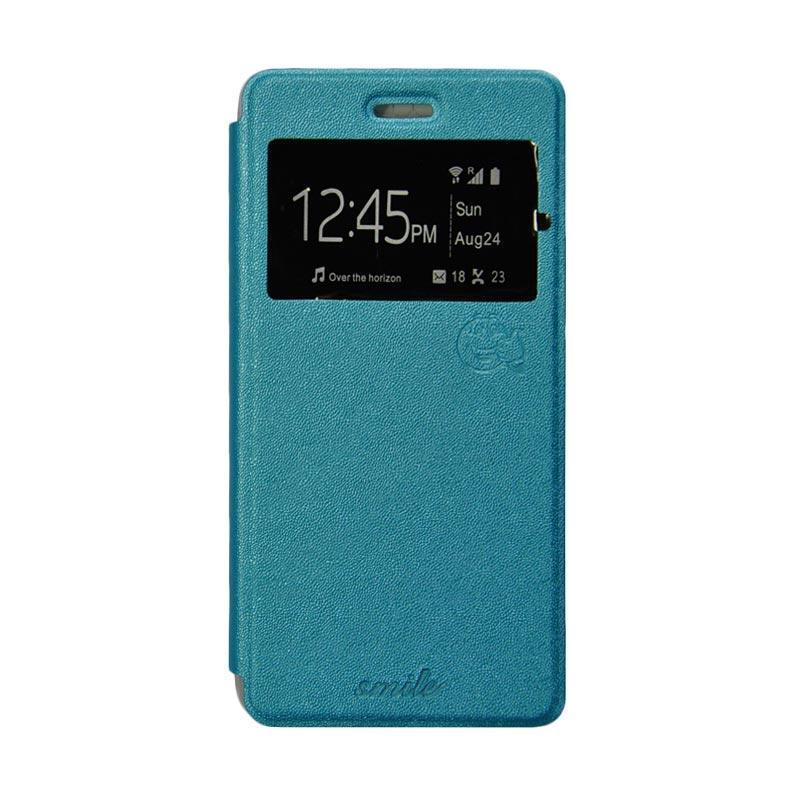 Smile Flip Cover Casing for Xiaomi Redmi Note - Biru Muda
