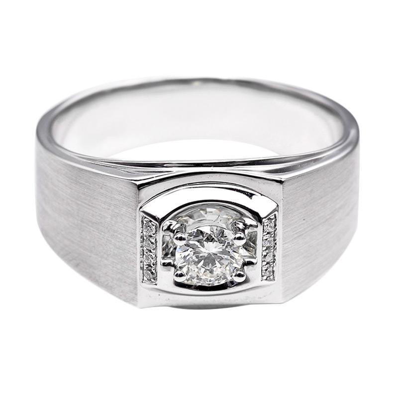 Tiaria DHTXHJZ016 Cincin Emas Putih Berlian - White Gold [18K]
