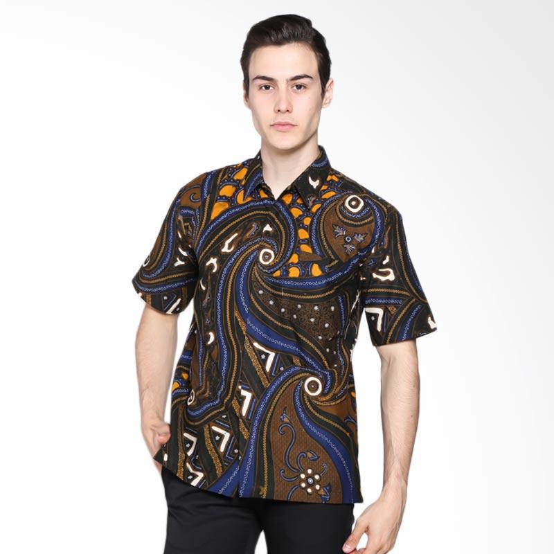 Batik Rengganis Hem Biion Kemeja Pria - Biru Hitam