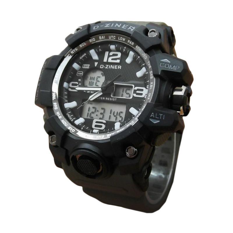 D-Ziner DZ0533 Dual Time Jam Tangan Pria Strap Karet - Hitam