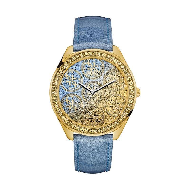 GUESS – Guess W0753L2 Crystal Leather Jam Tangan Wanita – Blue Gold