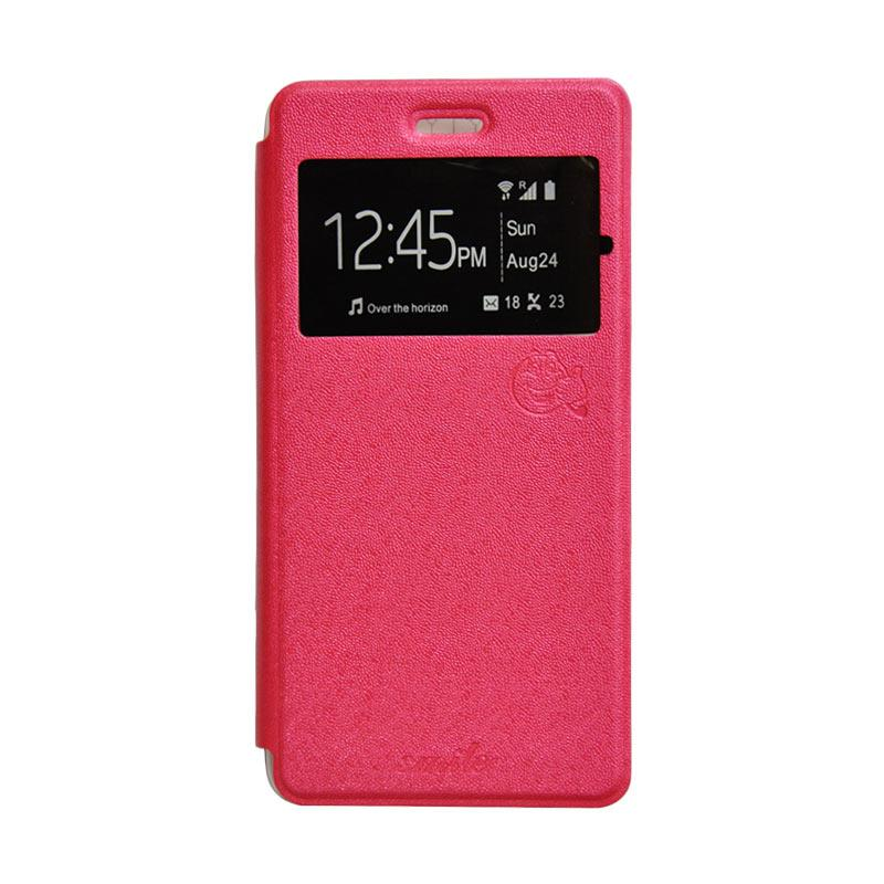 SMILE Standing Flip Cover Casing for Lenovo A5000 - Hot Pink