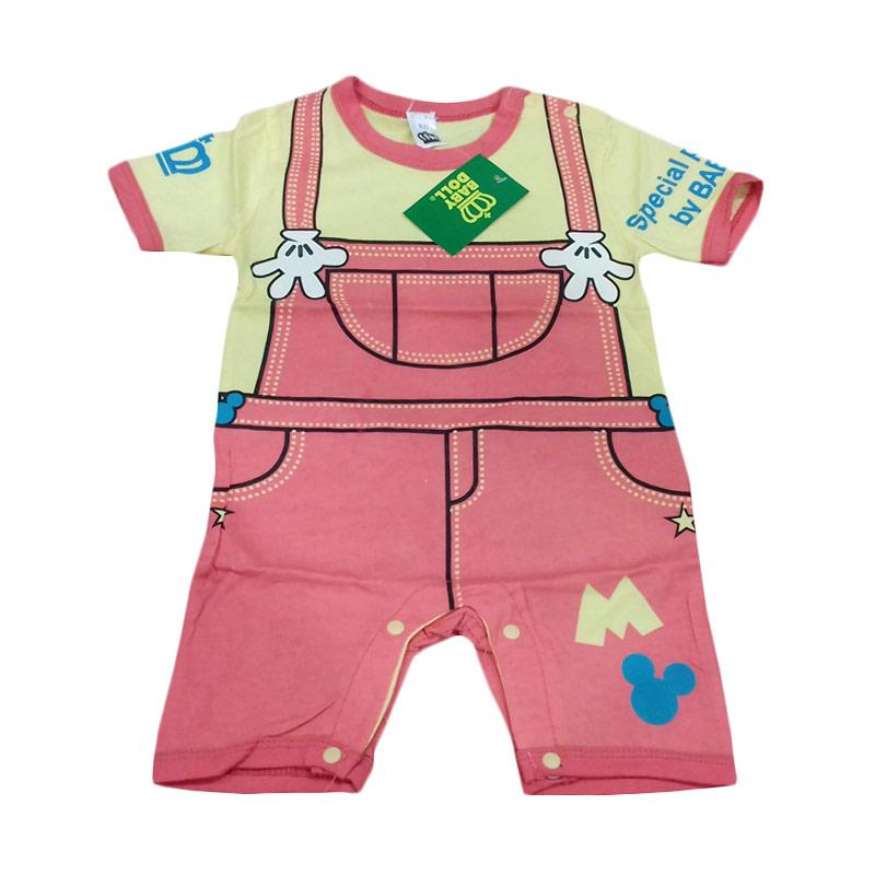 Chloe Babyshop Mickey Romper Suspender Jumpsuit - Pink