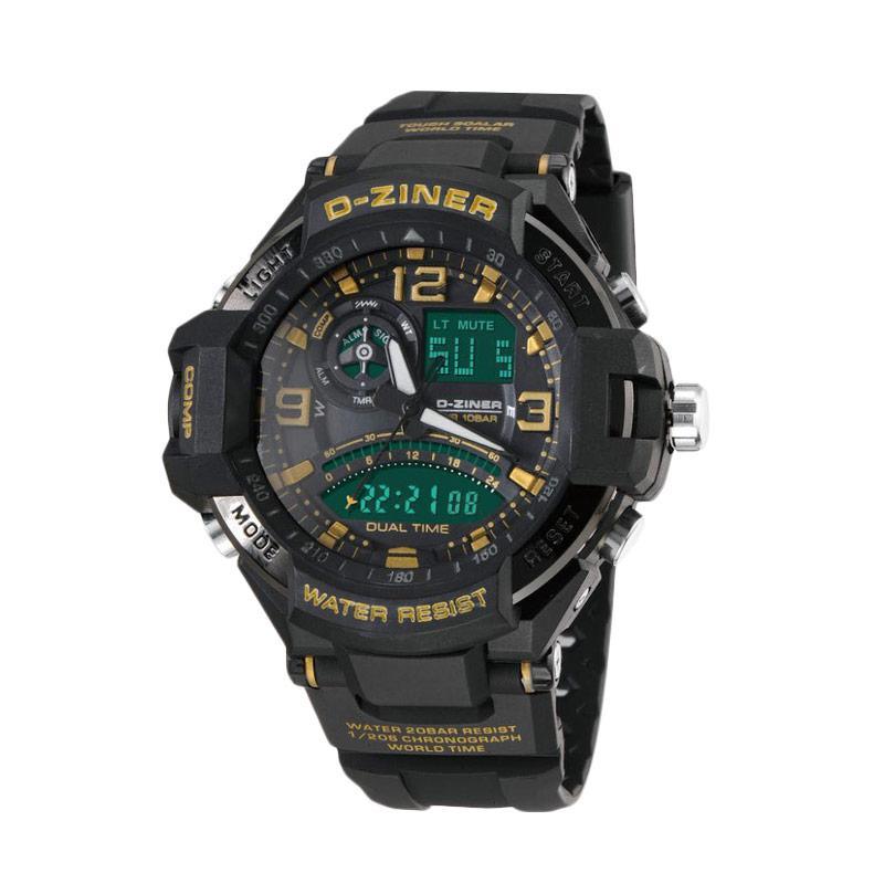 D-Ziner DZ0322 Dual Time Jam Tangan Pria - Hitam List Kuning