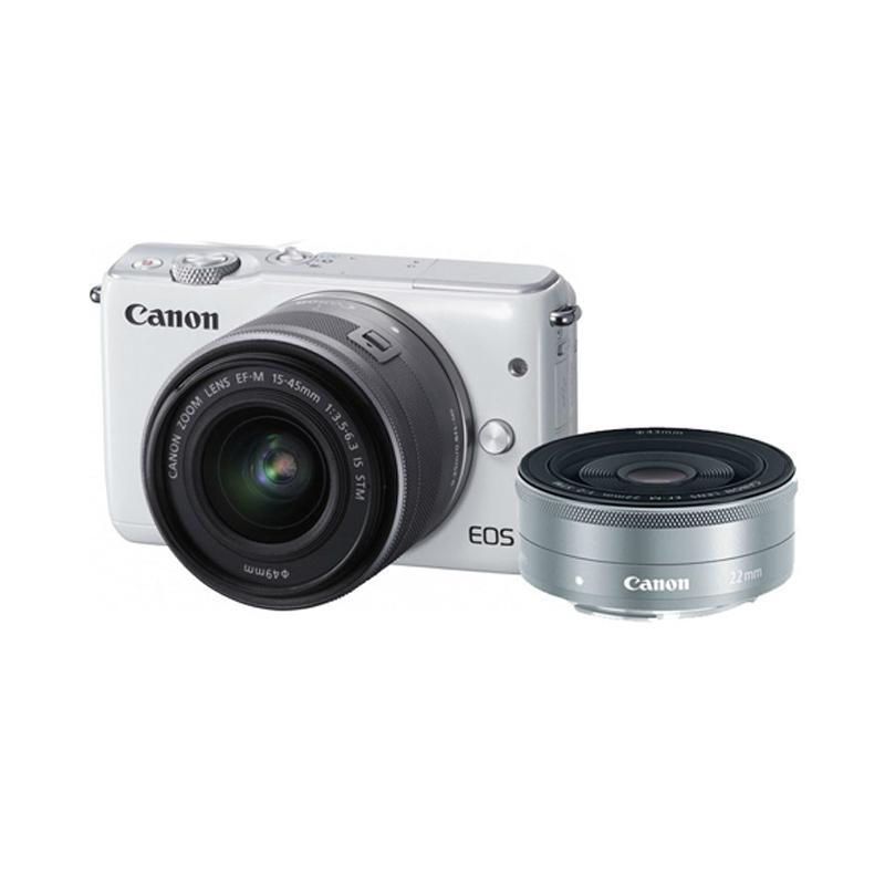 Canon EOS M10 Kit II EF-M15-45MM & EF-M22MM Kamera Mirrorless - White