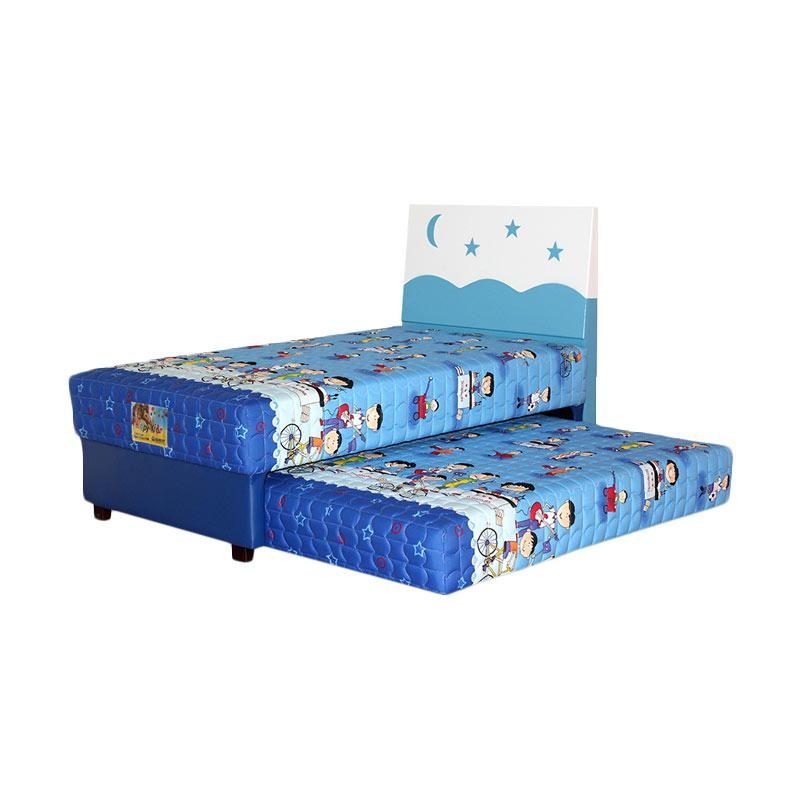 Guhdo Happy Kid Hb Starmoon 2in1 Full Set Springbed - Biru