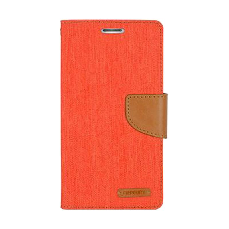 Mercury Canvas Diary Flip Cover Casing for iPhone 7 - Orange