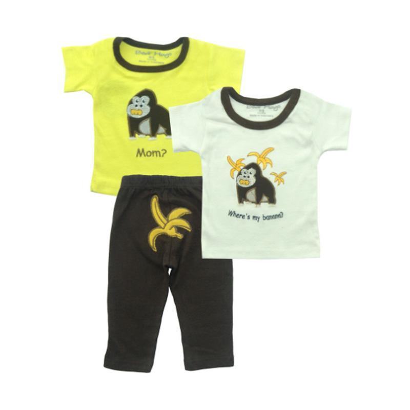 Bearhug 3 Pieces Monkey Set Bayi Laki-laki - Kuning [12-24 Month]