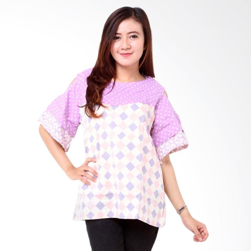 Batik Distro Cap Pola Bahu BA7723 Blouse Wanita - Ungu
