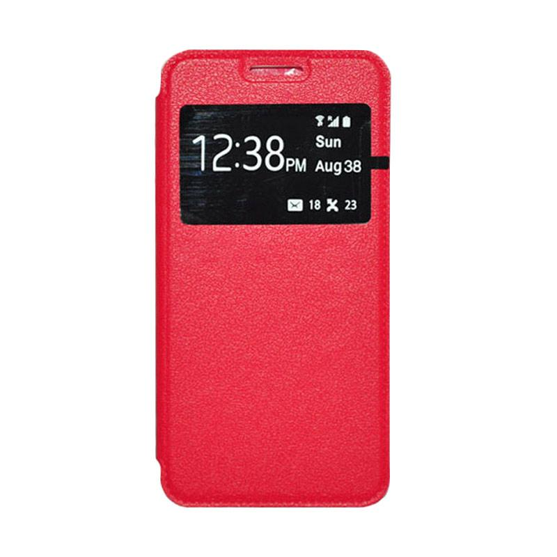 OEM Leather Book Cover Casing for Samsung Galaxy Note 4 - Red