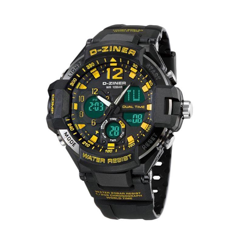 D-Ziner DZ 0433 Dual Time Jam Tangan Pria - Hitam List Kuning