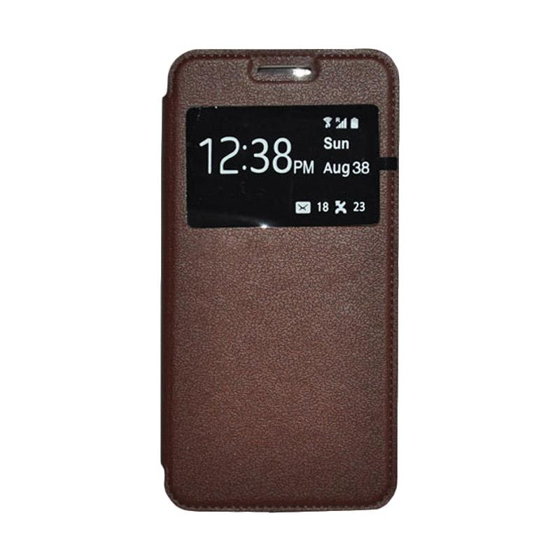 OEM Leather Book Cover Casing for Samsung Galaxy S5 - Brown