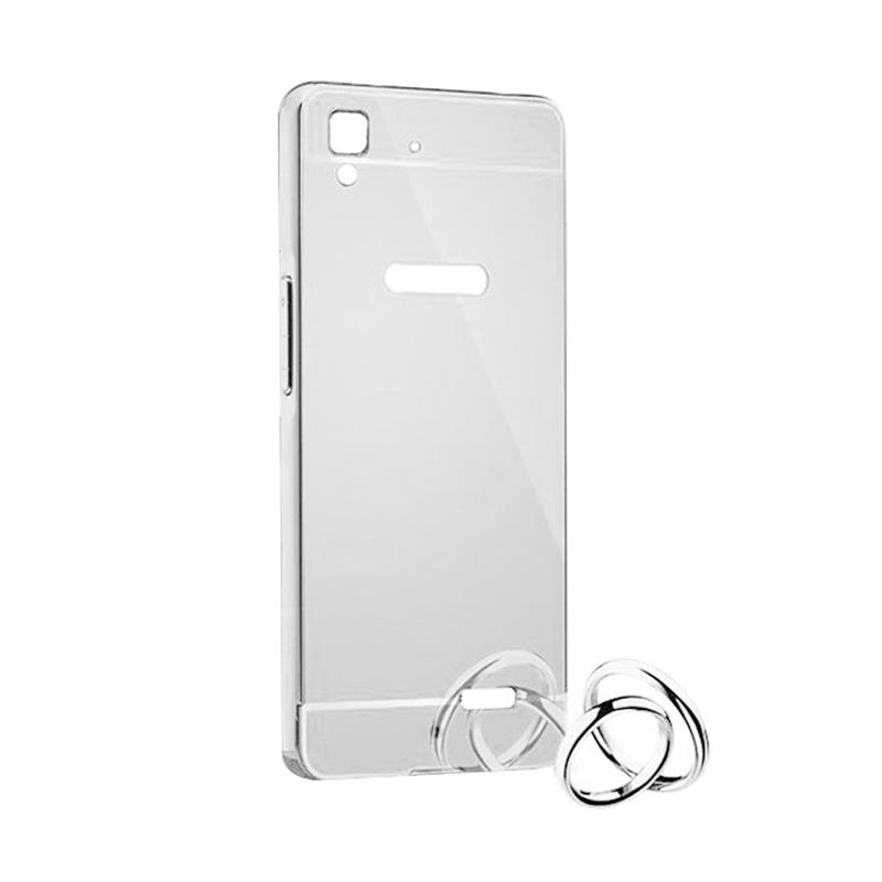 Bumper Mirror Sliding Casing for Oppo R7 - Silver