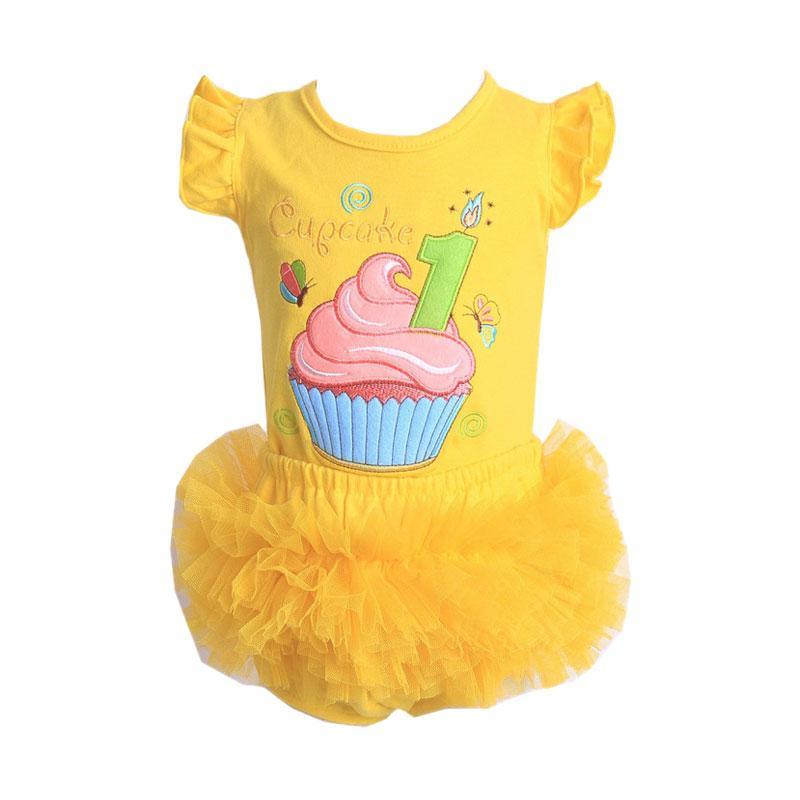 Chloe Babyshop F904 Tutu Cupcake Setelan Pakaian Anak - Yellow