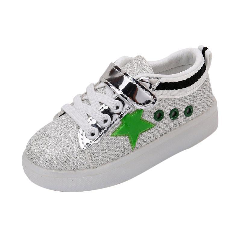 Chloebabyshop Sepatu Anak Lampu Glitter - Hijau