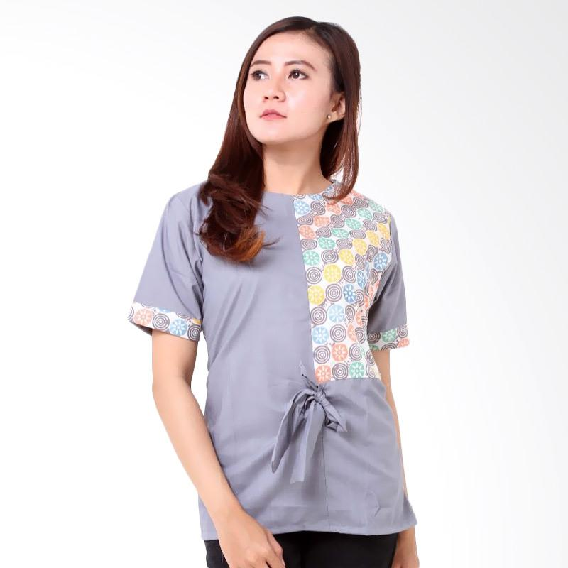 Batik Distro BA7730 Blus Pita Kombinasi Atasan Wanita - Biru