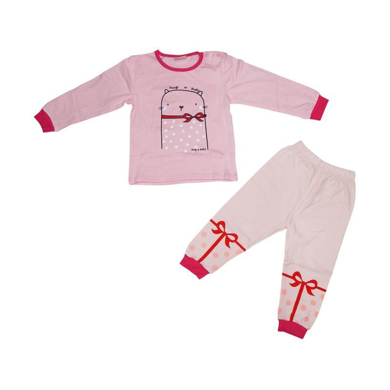 Wonderland Hug a Baby Cat Pajamas Baju Tidur Anak - Pink