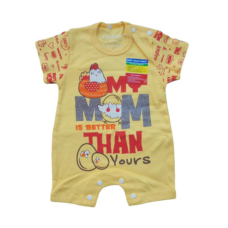 Piteku My Mom Hansop Pendek Jumpsuit Bayi - Yellow
